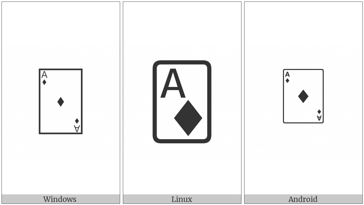 Playing Card Ace Of Diamonds on various operating systems
