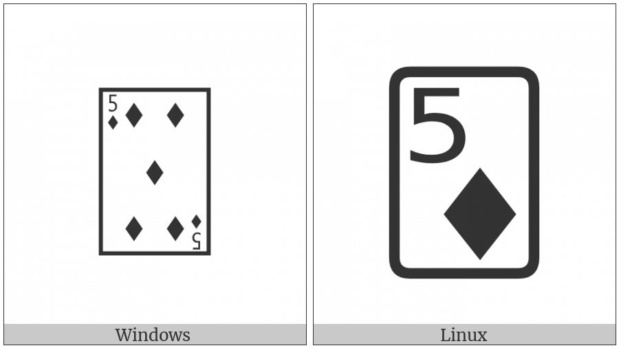 Playing Card Five Of Diamonds on various operating systems