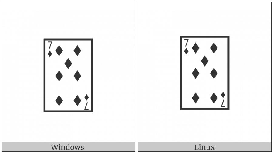 Playing Card Seven Of Diamonds on various operating systems