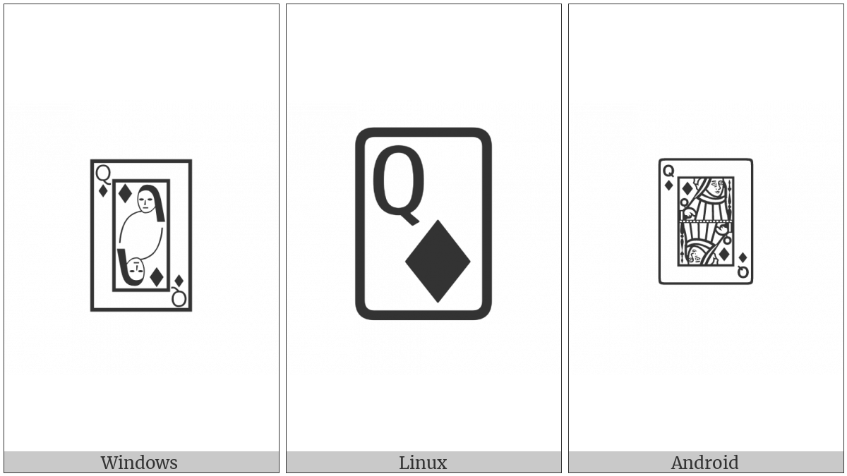Playing Card Queen Of Diamonds on various operating systems