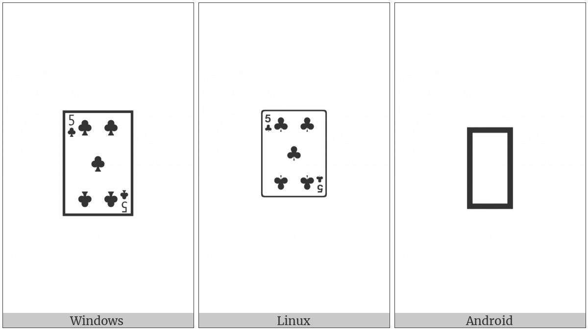 Playing Card Five Of Clubs on various operating systems