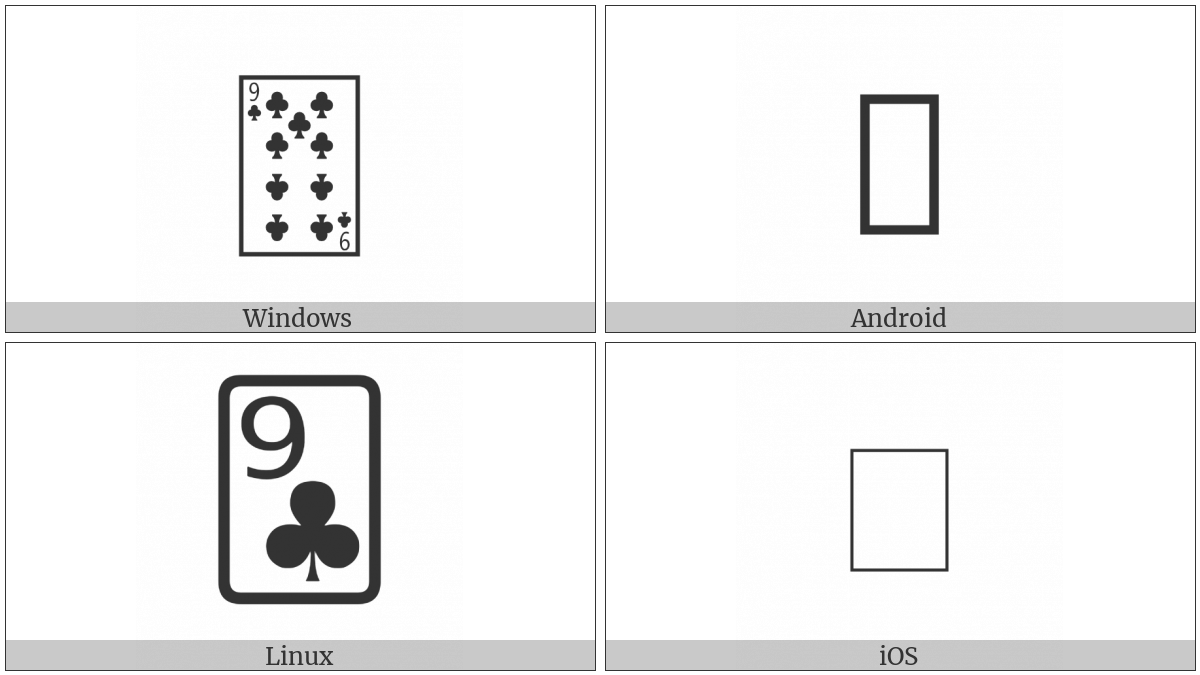 Playing Card Nine Of Clubs on various operating systems