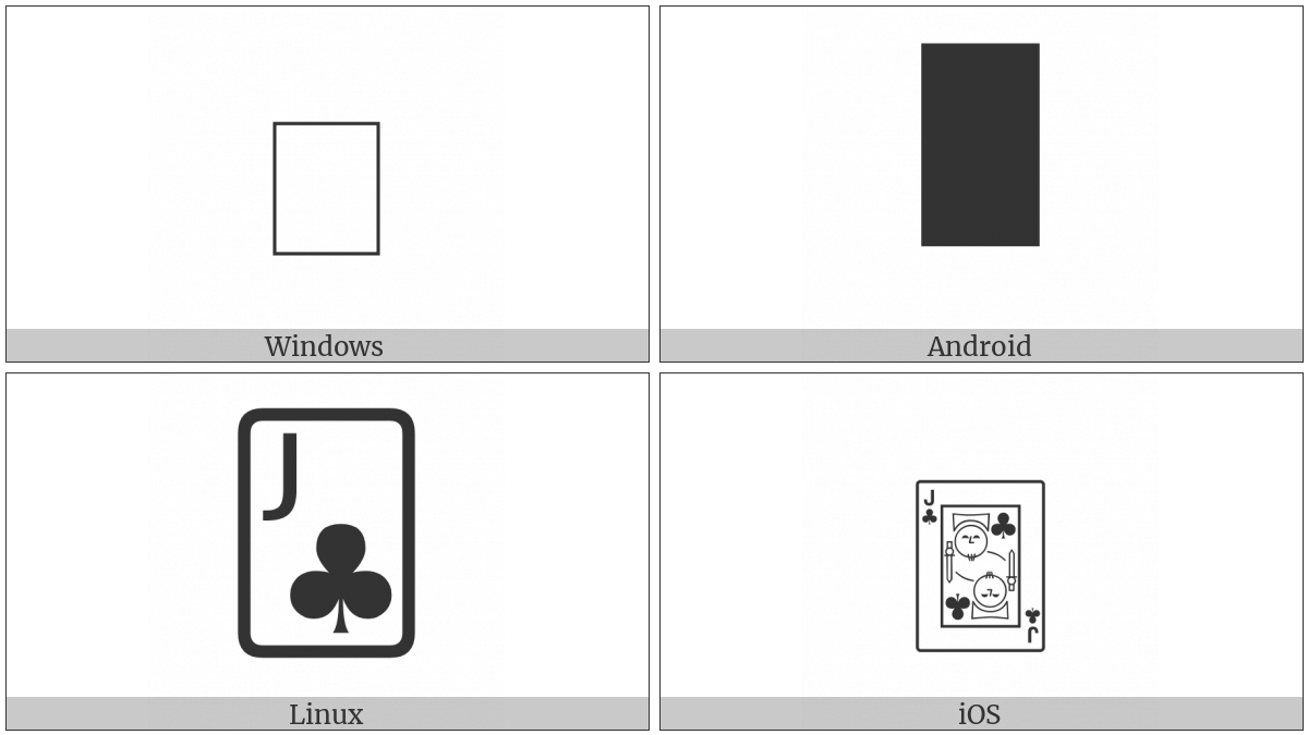 Playing Card Jack Of Clubs on various operating systems