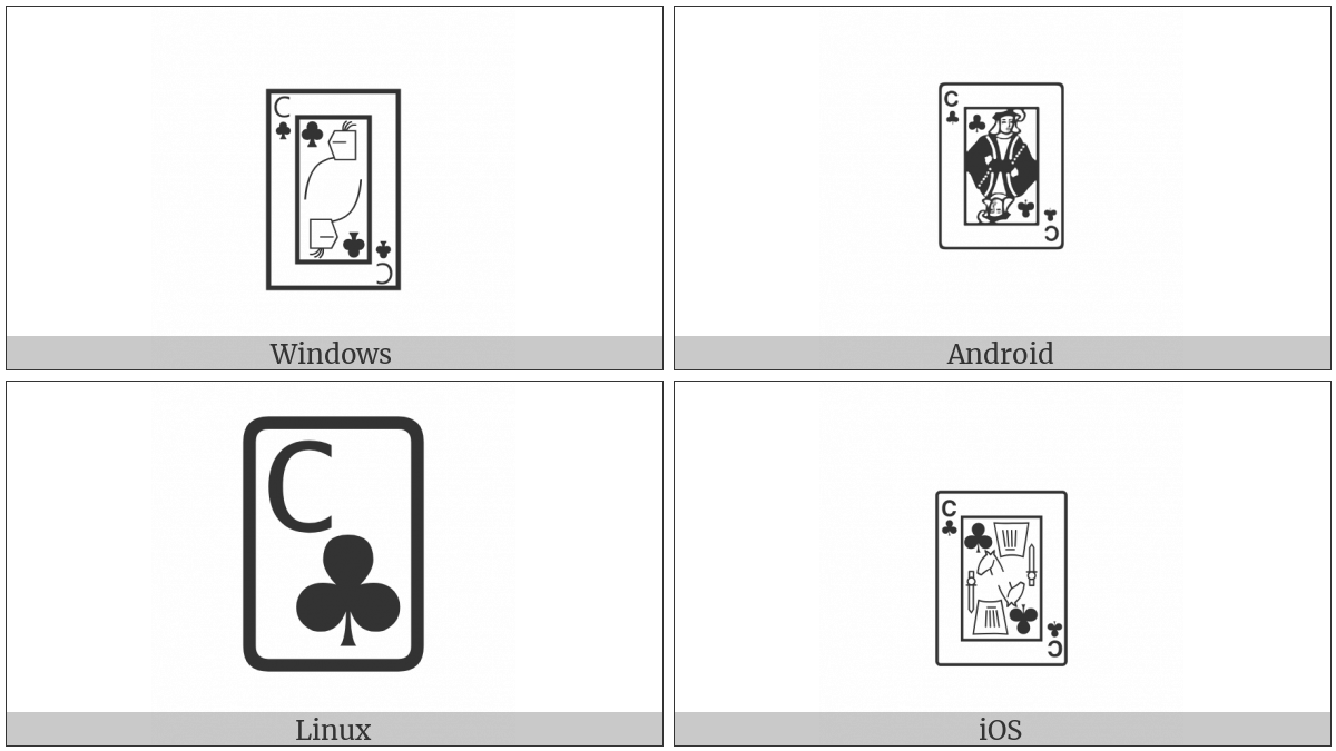 Playing Card Knight Of Clubs on various operating systems