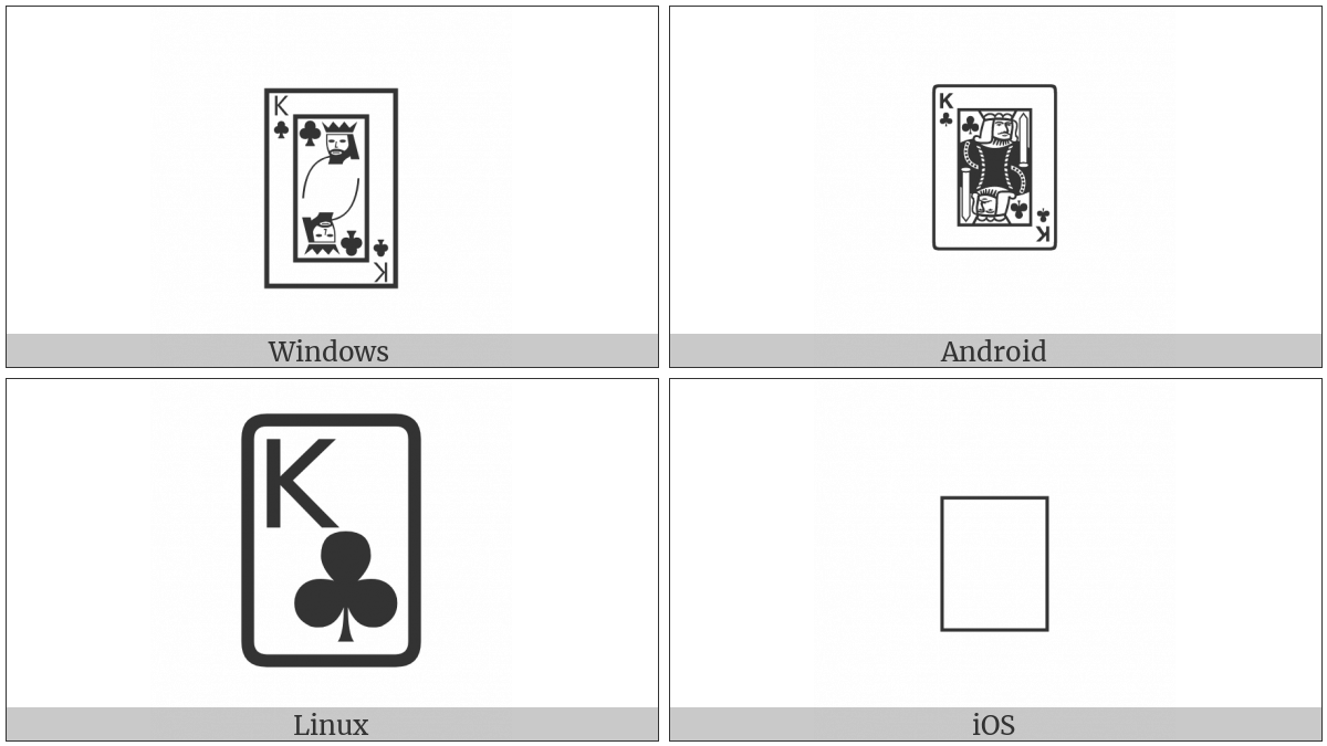 Playing Card King Of Clubs on various operating systems