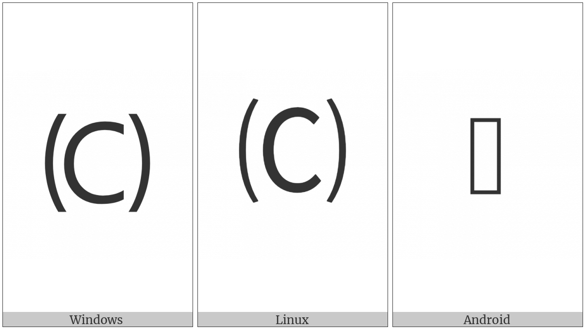 Parenthesized Latin Capital Letter C on various operating systems