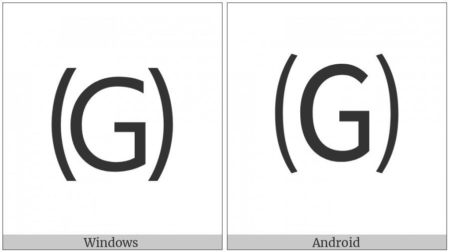 Parenthesized Latin Capital Letter G on various operating systems