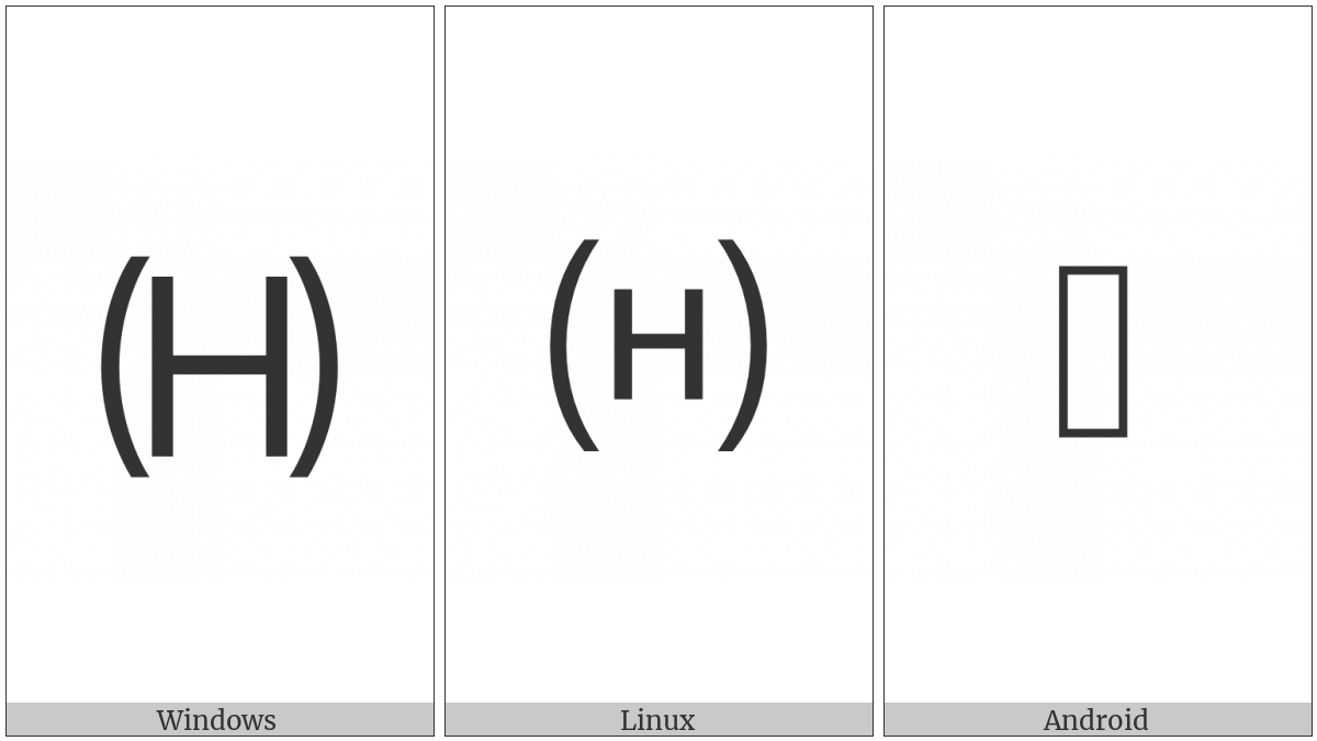 Parenthesized Latin Capital Letter H on various operating systems