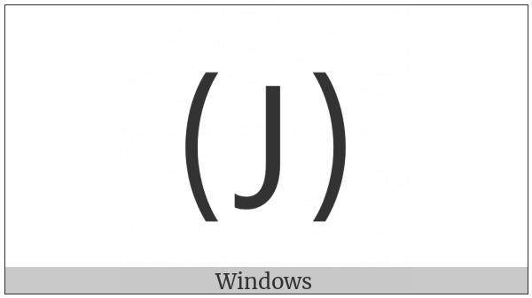 Parenthesized Latin Capital Letter J on various operating systems