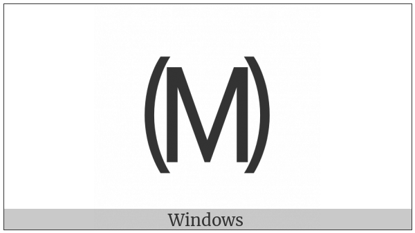 Parenthesized Latin Capital Letter M on various operating systems