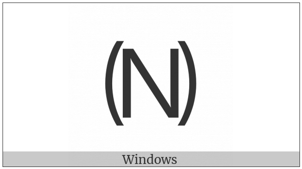 Parenthesized Latin Capital Letter N on various operating systems