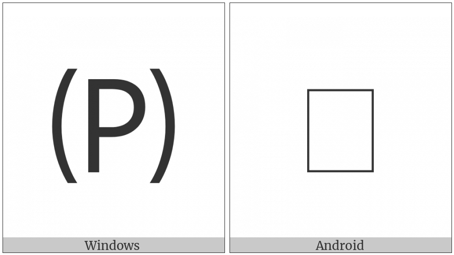 Parenthesized Latin Capital Letter P on various operating systems