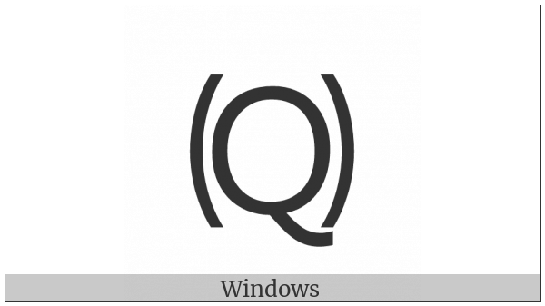 Parenthesized Latin Capital Letter Q on various operating systems