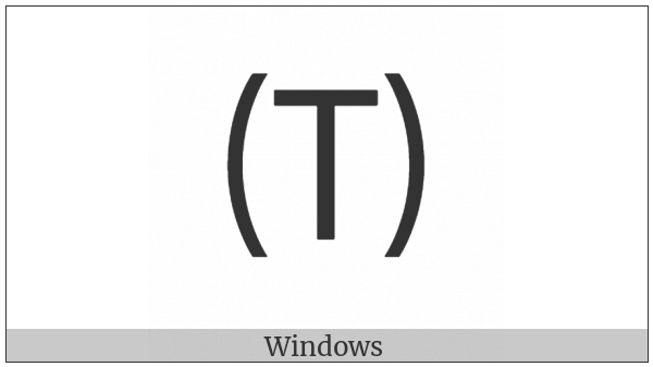 Parenthesized Latin Capital Letter T on various operating systems