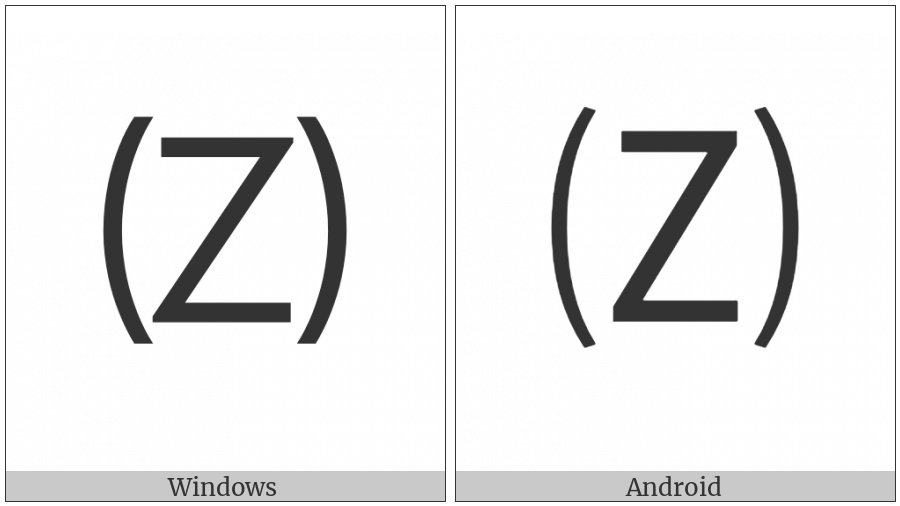 Parenthesized Latin Capital Letter Z on various operating systems