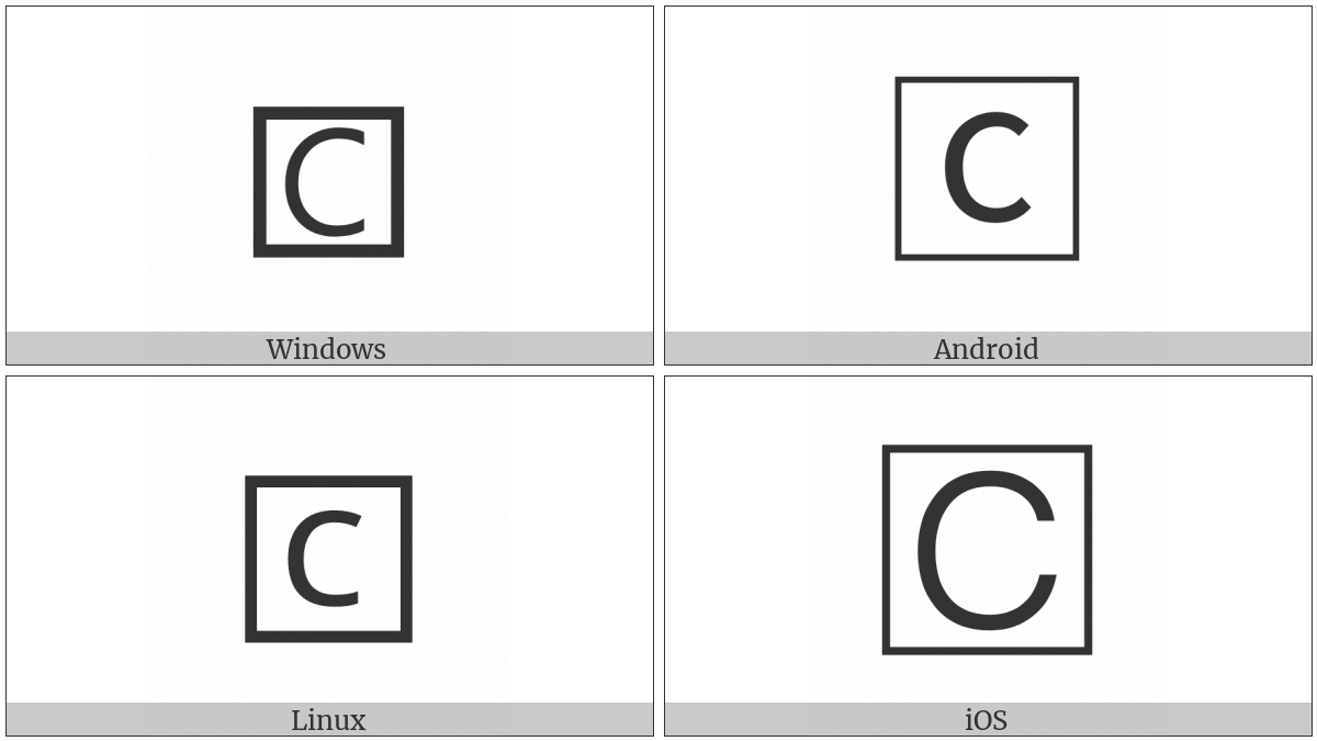 Squared Latin Capital Letter C on various operating systems