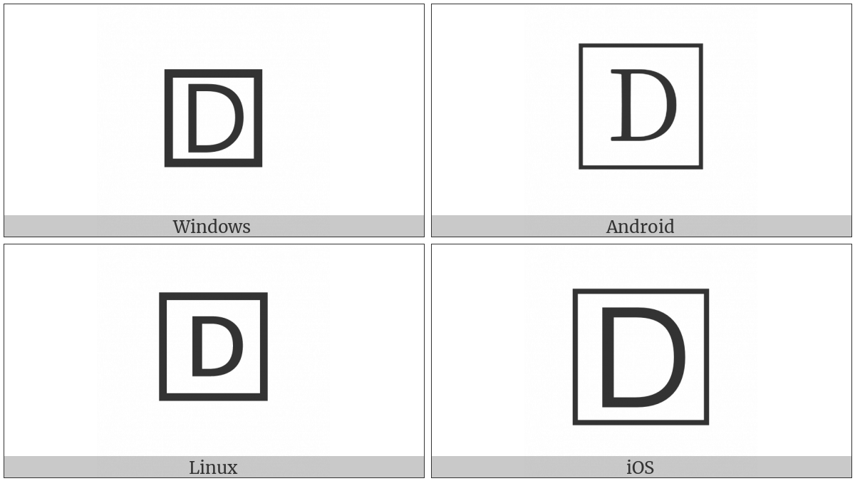 Squared Latin Capital Letter D on various operating systems