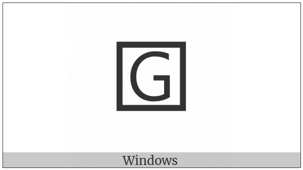 Squared Latin Capital Letter G on various operating systems