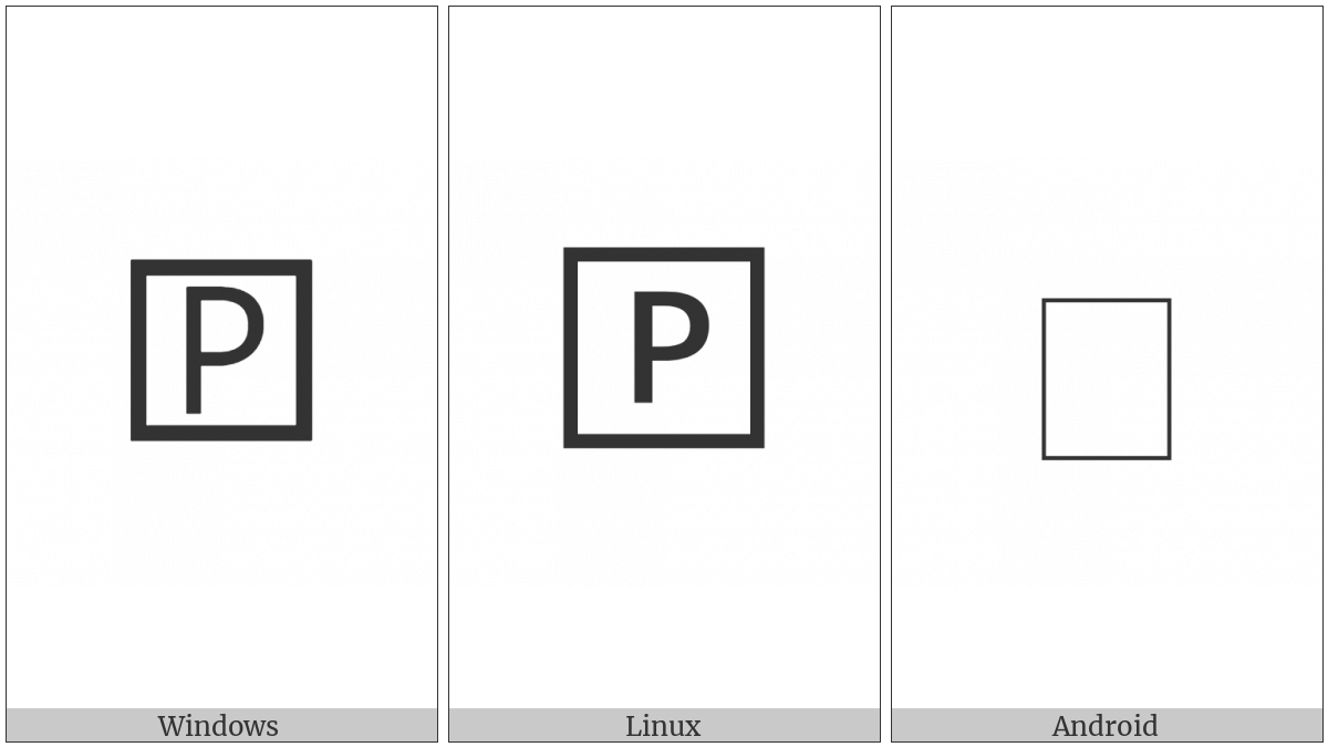 Squared Latin Capital Letter P on various operating systems