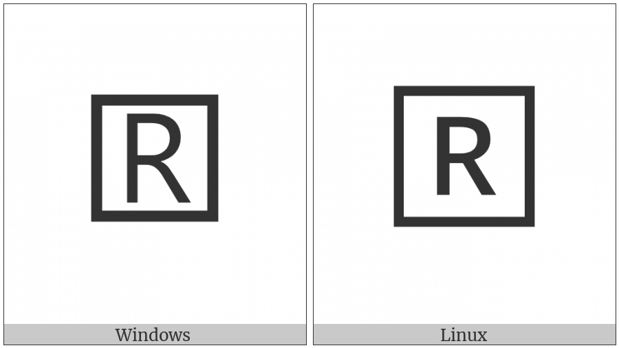 Squared Latin Capital Letter R on various operating systems