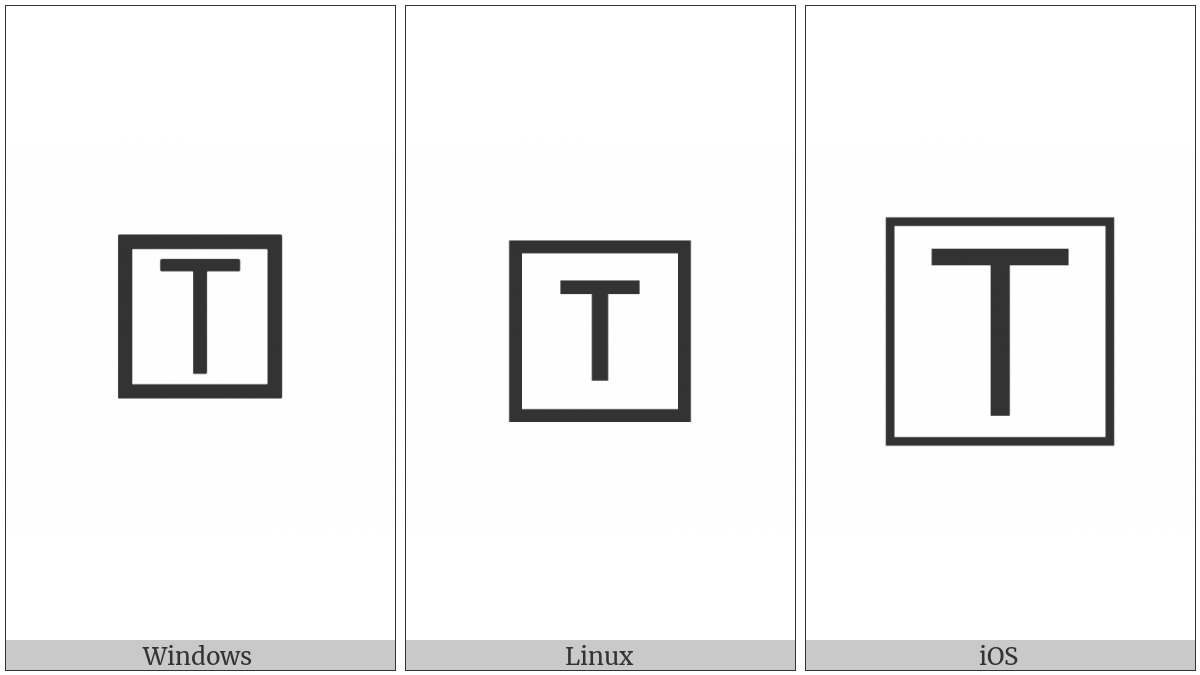 Squared Latin Capital Letter T on various operating systems