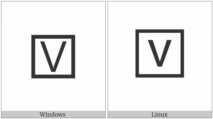 Squared Latin Capital Letter V on various operating systems