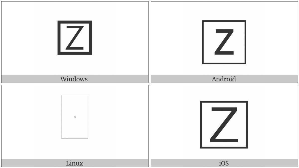 Squared Latin Capital Letter Z on various operating systems