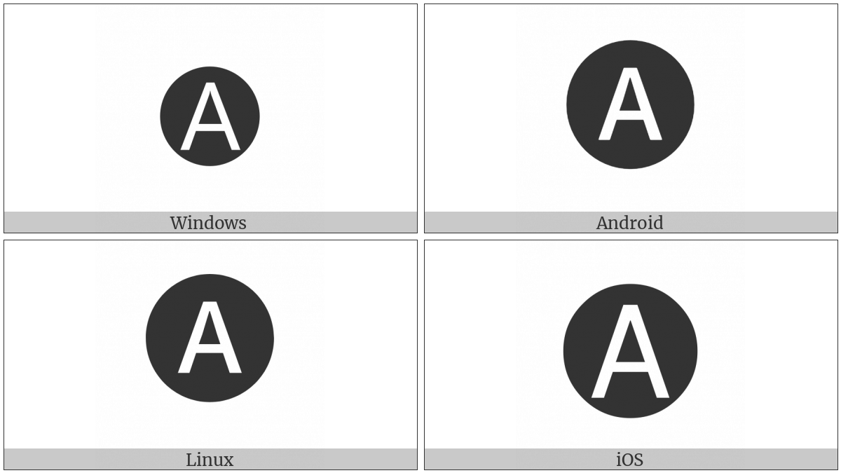 Negative Circled Latin Capital Letter A on various operating systems