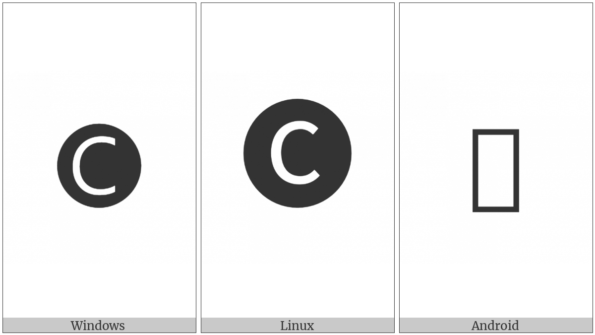 Negative Circled Latin Capital Letter C on various operating systems