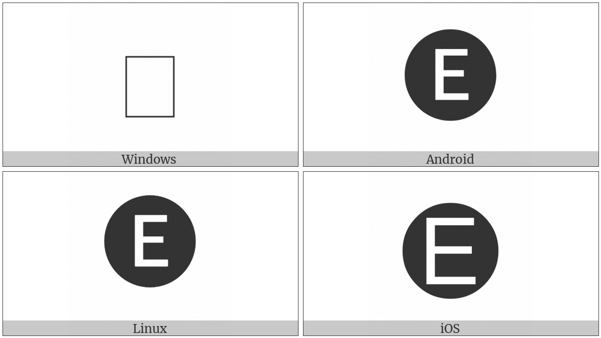 Negative Circled Latin Capital Letter E on various operating systems