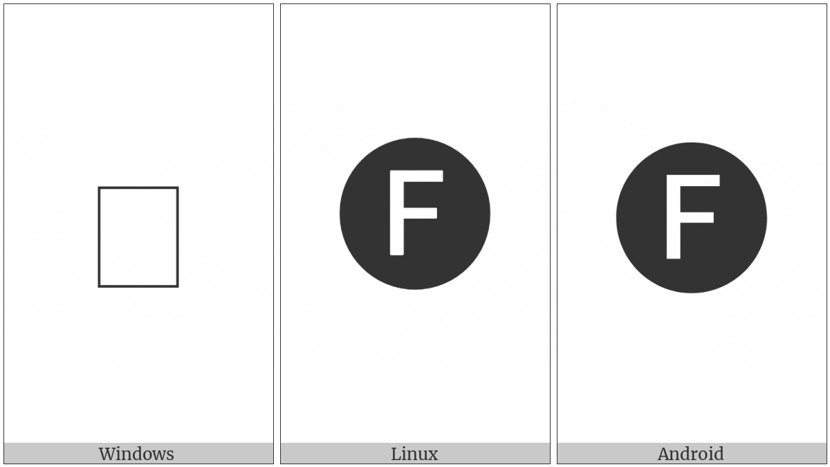 Negative Circled Latin Capital Letter F on various operating systems