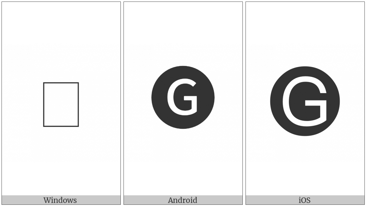 Negative Circled Latin Capital Letter G on various operating systems