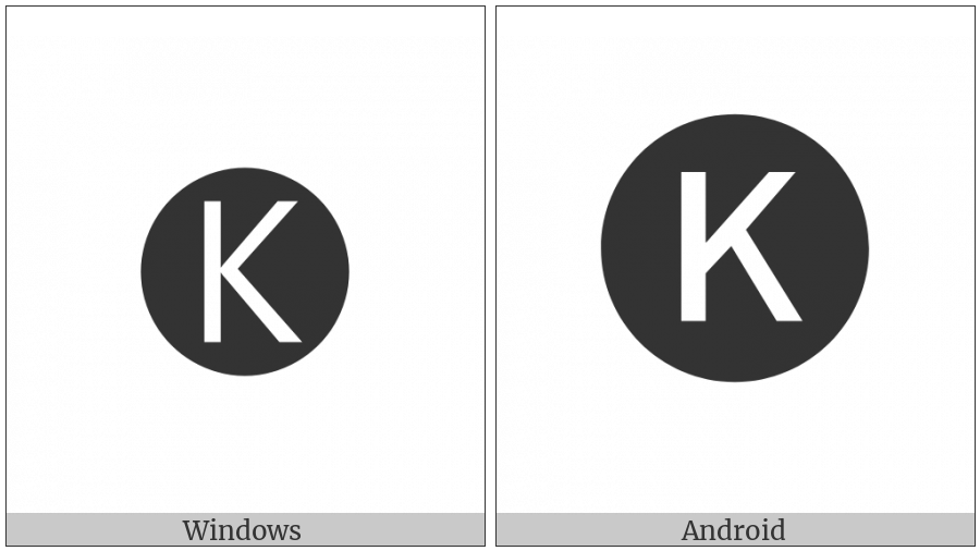 Negative Circled Latin Capital Letter K on various operating systems