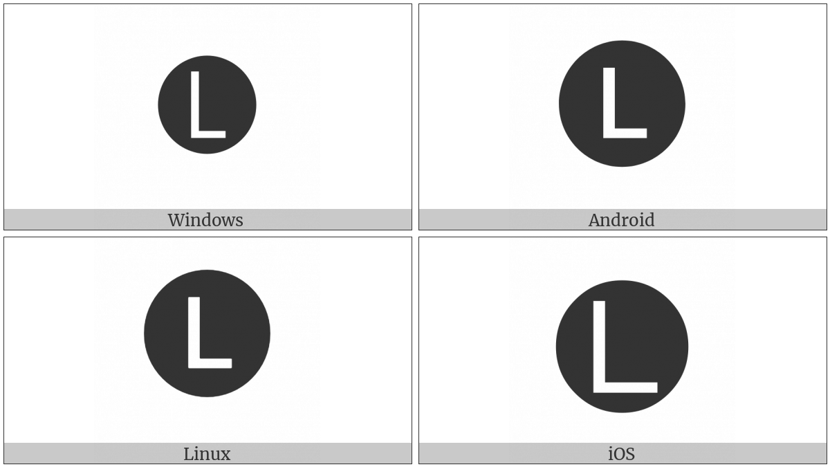 Negative Circled Latin Capital Letter L on various operating systems