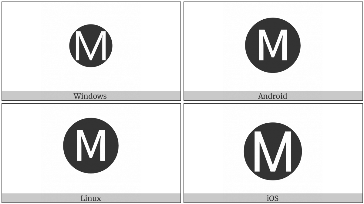Negative Circled Latin Capital Letter M on various operating systems