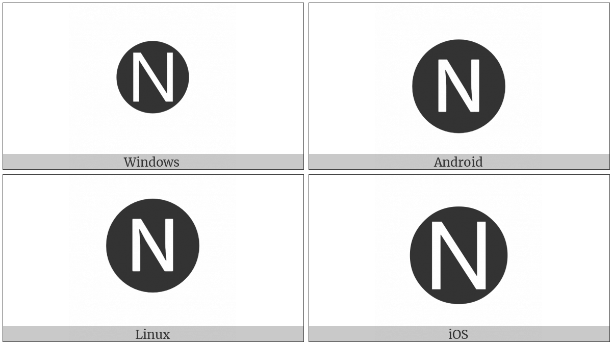 Negative Circled Latin Capital Letter N on various operating systems