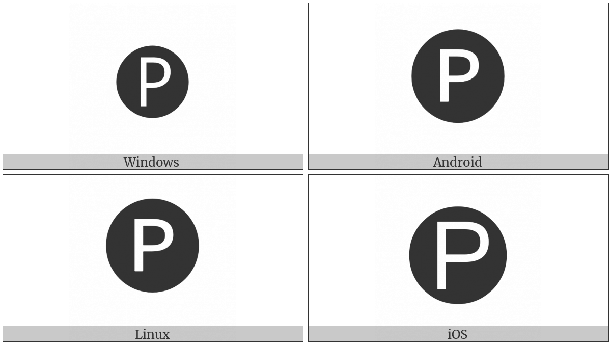 Negative Circled Latin Capital Letter P on various operating systems