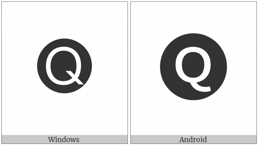 Negative Circled Latin Capital Letter Q on various operating systems