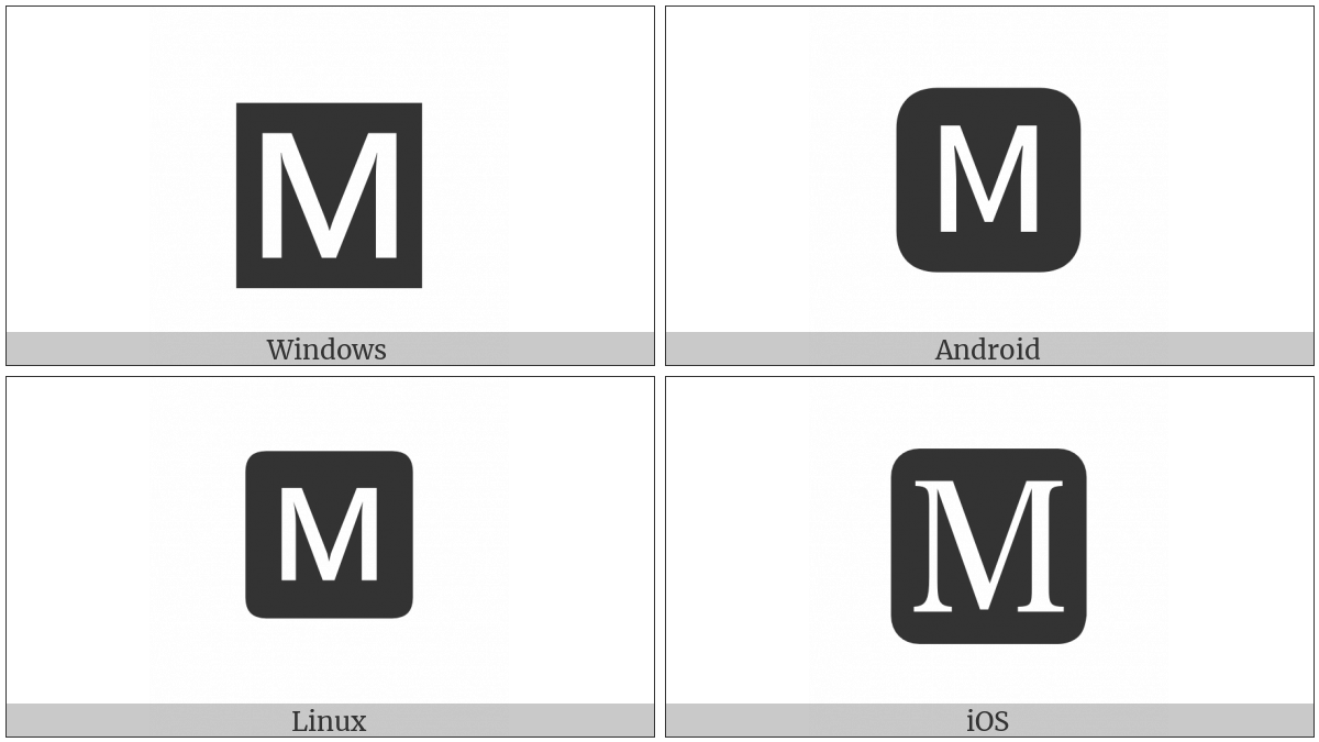 Negative Squared Latin Capital Letter M On Various Operating Systems