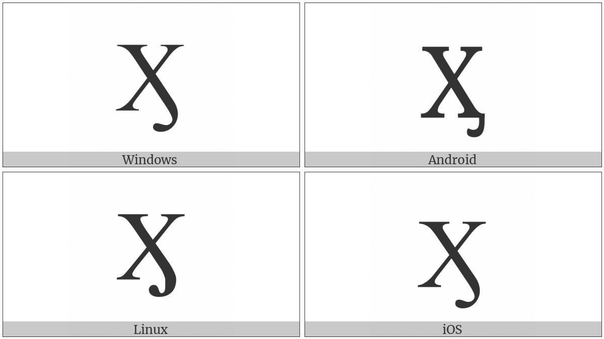Cyrillic Capital Letter Ha With Hook on various operating systems