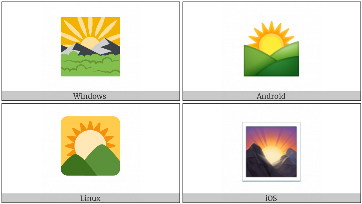 Sunrise Over Mountains on various operating systems