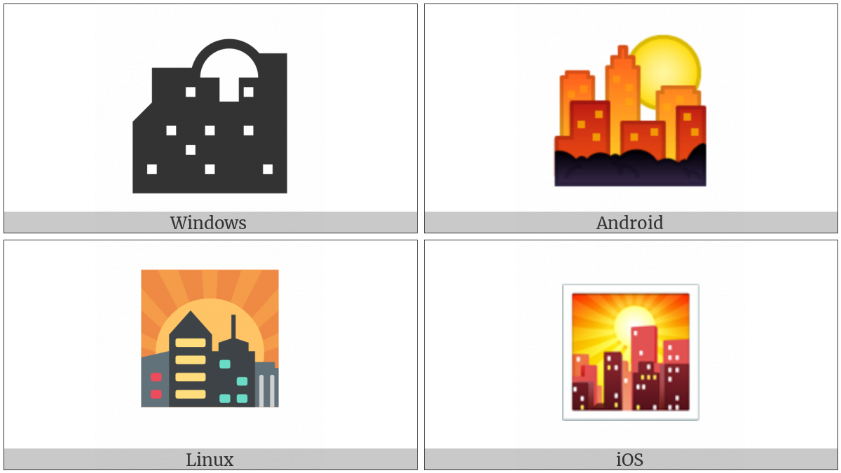 Sunset Over Buildings on various operating systems