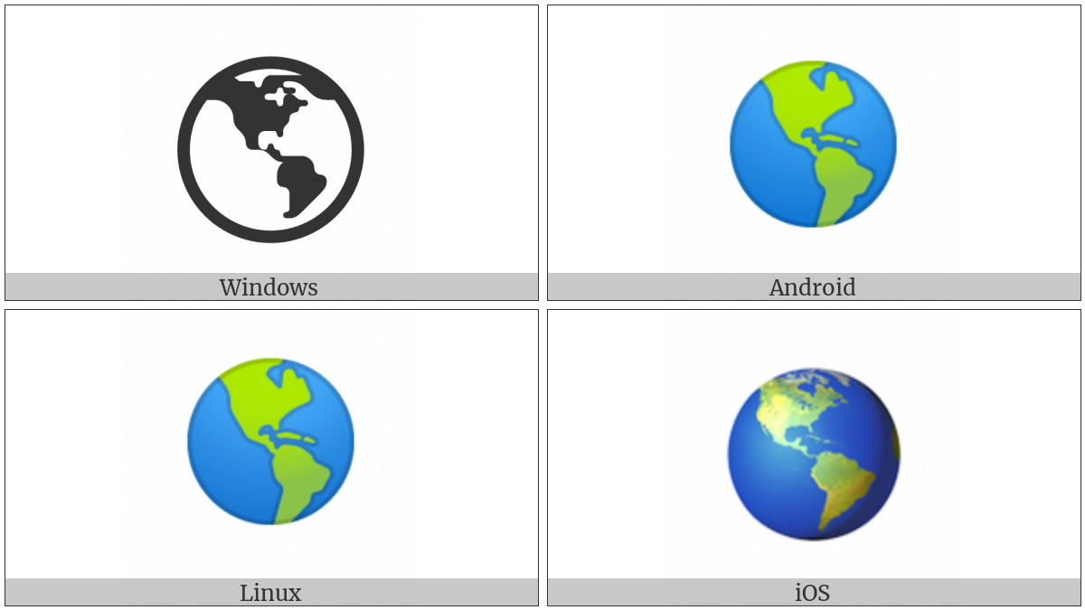 Earth Globe Americas on various operating systems