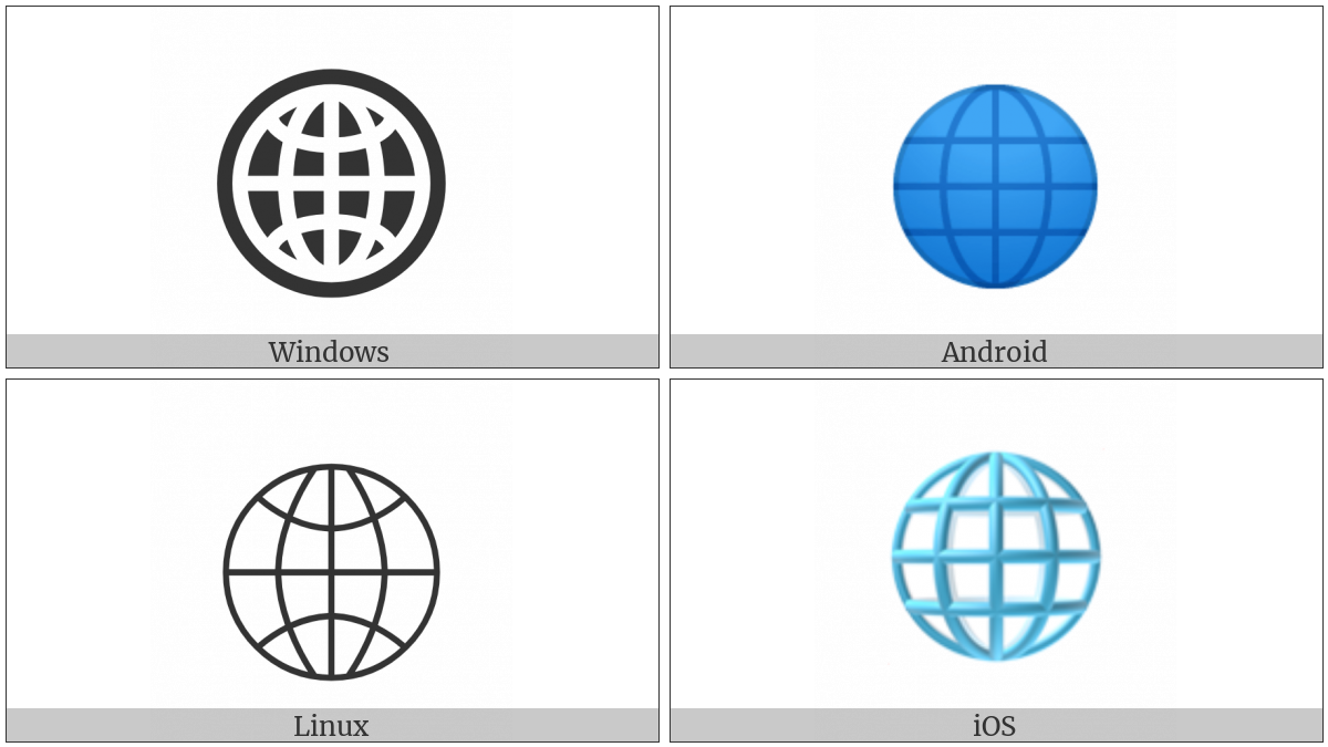 Globe With Meridians on various operating systems