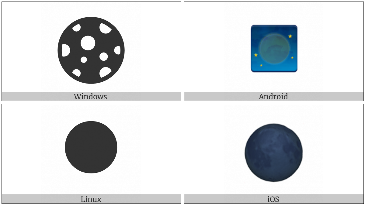 New Moon Symbol on various operating systems