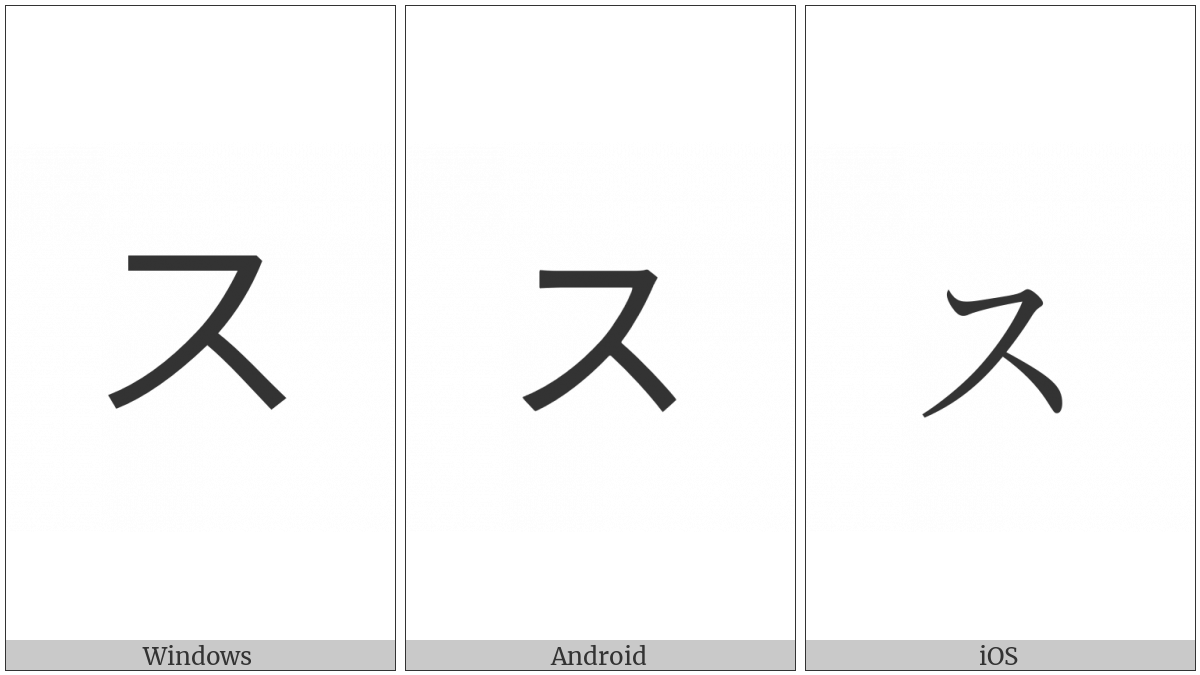 Katakana Letter Small Su on various operating systems
