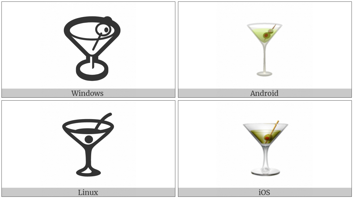 Cocktail Glass on various operating systems