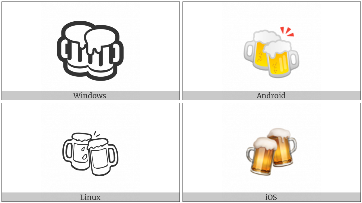 Clinking Beer Mugs on various operating systems