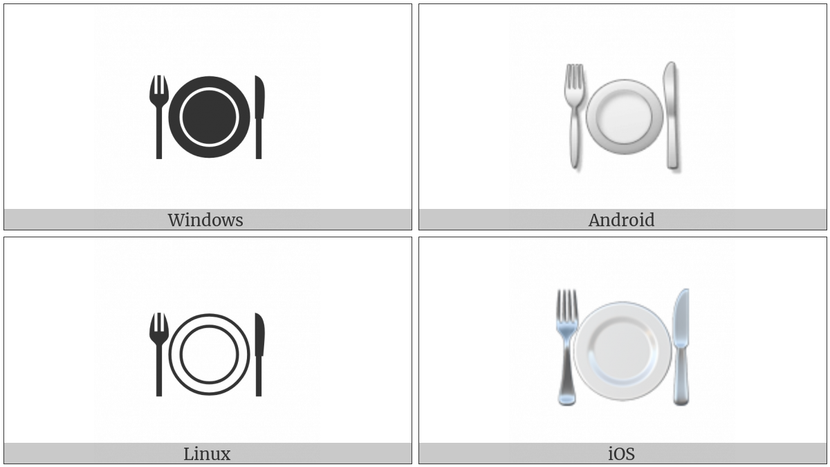 Fork And Knife With Plate on various operating systems