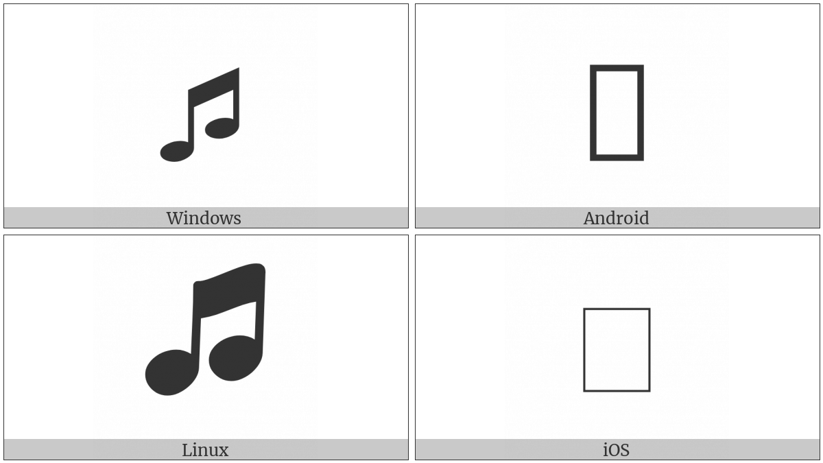 Beamed Ascending Musical Notes on various operating systems